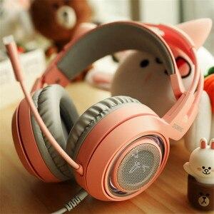 Image 5 - SOMIC G951 USB 7,1 Headset Surround Sound Gaming Kopfhörer Bass Casque mit Katze Ohr Mic vibration für PC Notebook Rosa kinder Mädchen