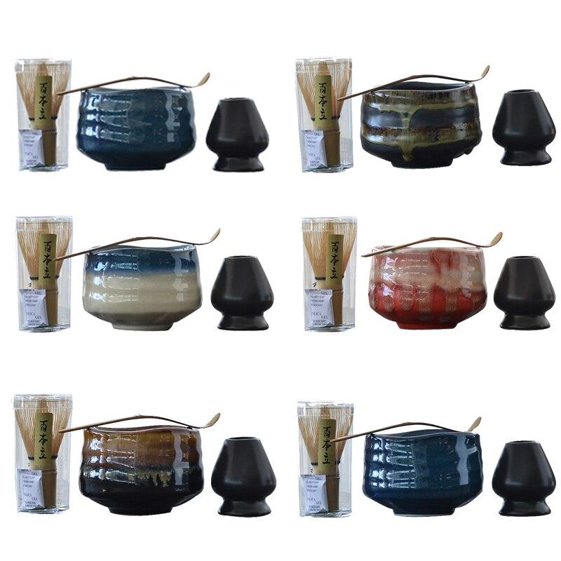 Tangpin 전통 말차 세트 자연 대나무 말차 털 ceremic 말차 그릇 털 홀더 일본 차 세트 drinkware
