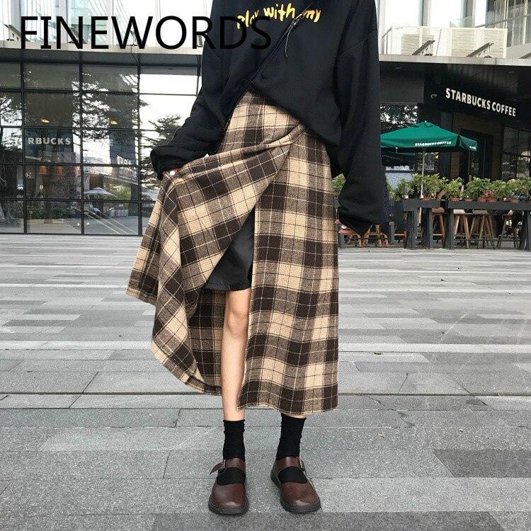 FINEWORDS 2020 Spring Harajuku Vintage Long Plaid Skirt Split Streetwear A Line Skirt Women Korean Style Midi Jupe Longue Femme