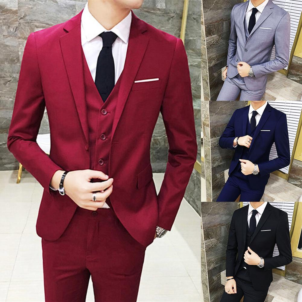 Three-piece  Men's Business Dress Professional West Decoration Body Groomsmen Groom Wedding Dress Suit Vest Blazer Pants Set