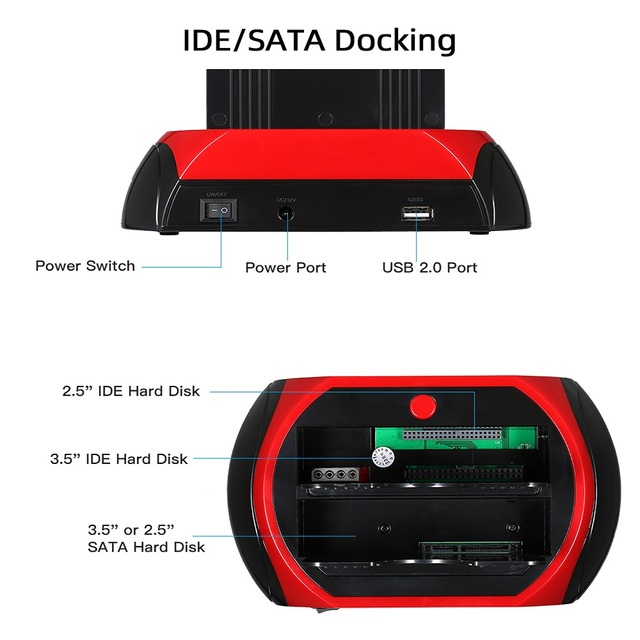 TISHRIC ALL in One HDD Docking/Dock Station HD Dual SATA IDE to Usb 2.0 2.5 3.5 External Hard Drive Reader Housing Case HD BOX 4