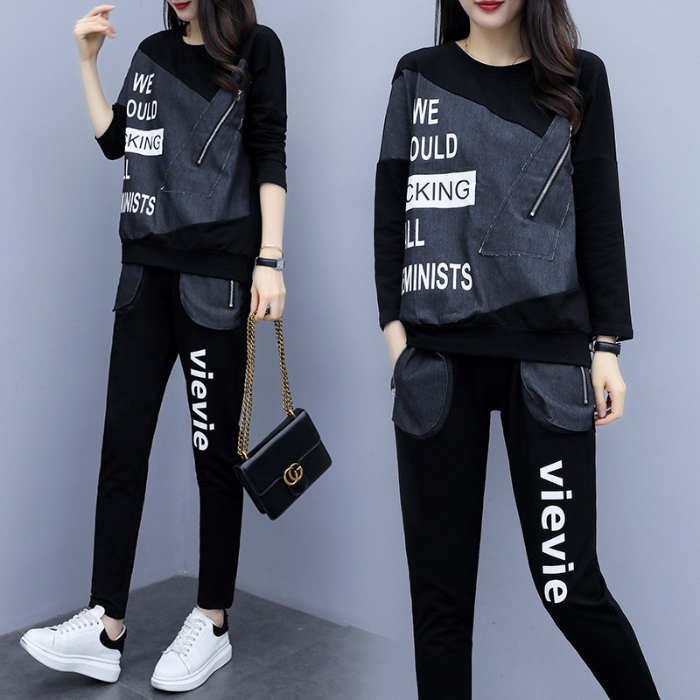 2019 Autumn Black Letters Print Two Piece Sets Sport Outfits Women Plus Size Denim Patchwork Tops And Pants Suits Casual Fashion Tracksuit 24