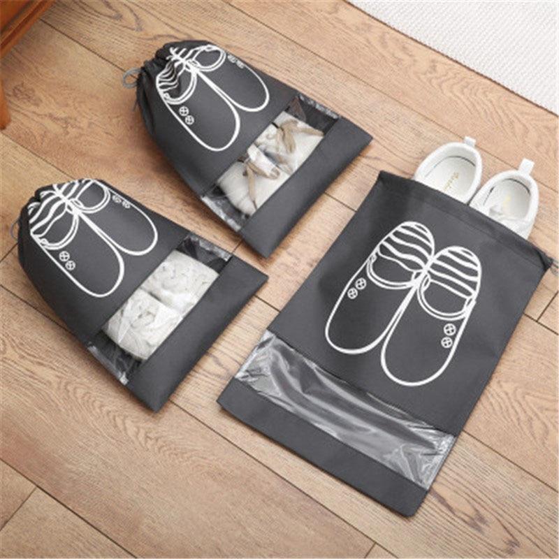 Shoe Bag Waterproof Shoes Bag Travel Portable Shoe Storage Bag Organize Tote Drawstring Bag Dolap Organizer Non-Woven Organizador L 6