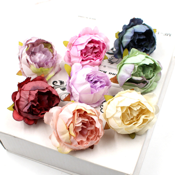 5pcs/lot 5cm High Quality Peony Flower Head Silk Artificial Flowers Decor For Home  DIY Garland Christmas Decorations New Year