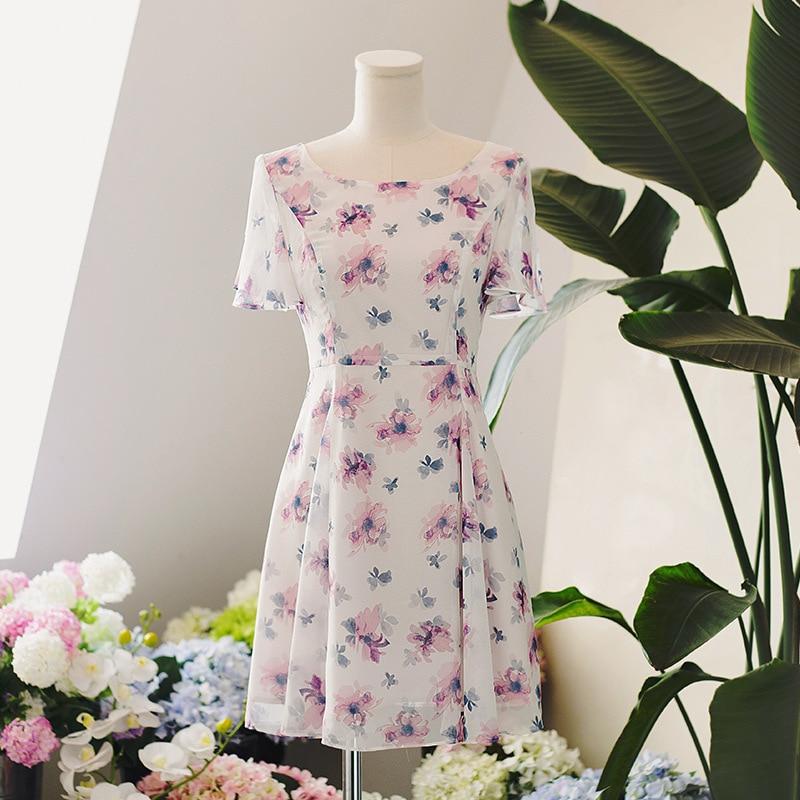 Floral Skirt Children Summer Literature And Art Hipster Students Chiffon Very Fairy Mori Girl Line Dress Short Sleeve Waist Hugg