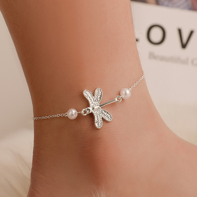New Barefoot Sandals Pearl Ankle Bracelet Beach Lady Dragonfly Crystal Anklets Foot Jewelry On The Leg New Beach Vintage Anklets
