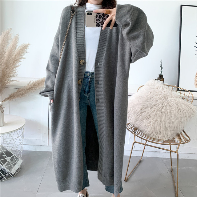 [EAM] Gray Big Size Long Knitting Cardigan Sweater Loose Fit V-Neck Long Sleeve Women New Fashion Tide Autumn Winter 2021 Y204 5