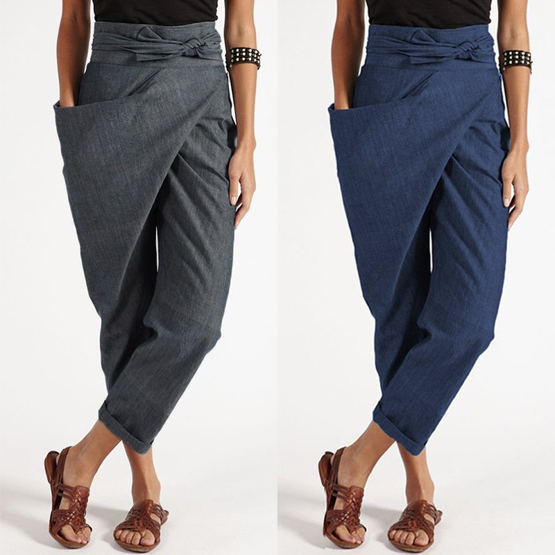 Oversized Women's Harem Pants 2019 ZANZEA Elegant Pantalon Casual Long Palazzo Fashion Big Pockets Side Zipper Cropped Trousers