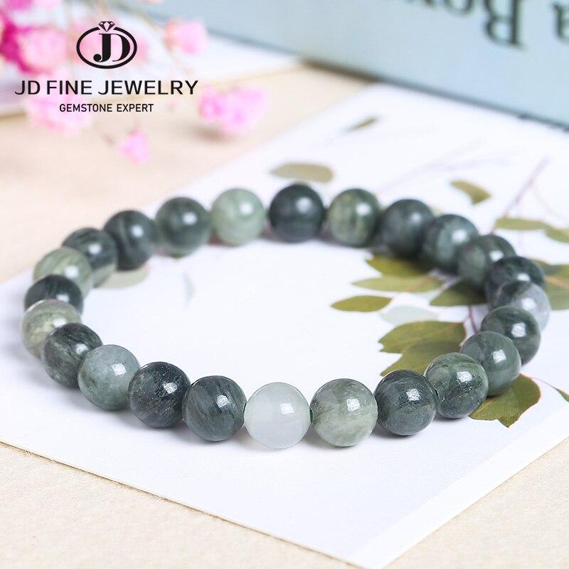 JD браслет из натурального зеленого яшмы, темно-зеленые бусины с драгоценными камнями, очаровательные браслеты для женщин 8-12 мм, мужские юве...