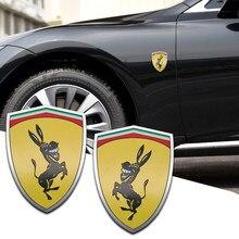 2021 3D En Aluminium Drôle Gauche Droite Âne Emblème D'insigne de Voiture Autocollant Carrosserie Décoration De Fenêtre Pour Ferrari F8 F40 488 1/24 F1