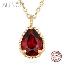 ALLNOEL, 925 пробы, серебряное ожерелье с подвеской для женщин, классика, капля воды, натуральный гранат, агат, цитрин, роскошный свадебный подарок