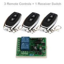 Qiachip 433 mhz ac 110 v 220 v 무선 2ch rf 송신기 원격 제어 스위치 + rf 릴레이 수신기 라이트 차고 도어 오프너