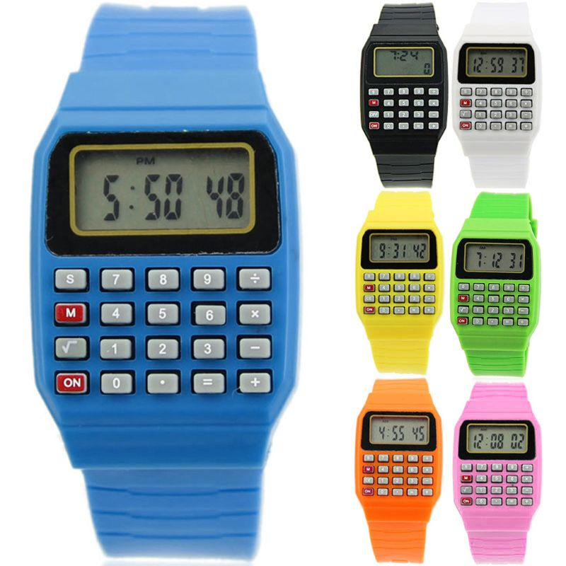 Silicone Date Multi-Purpose Fashion Electronic Wrist Calculator Watch For Kids