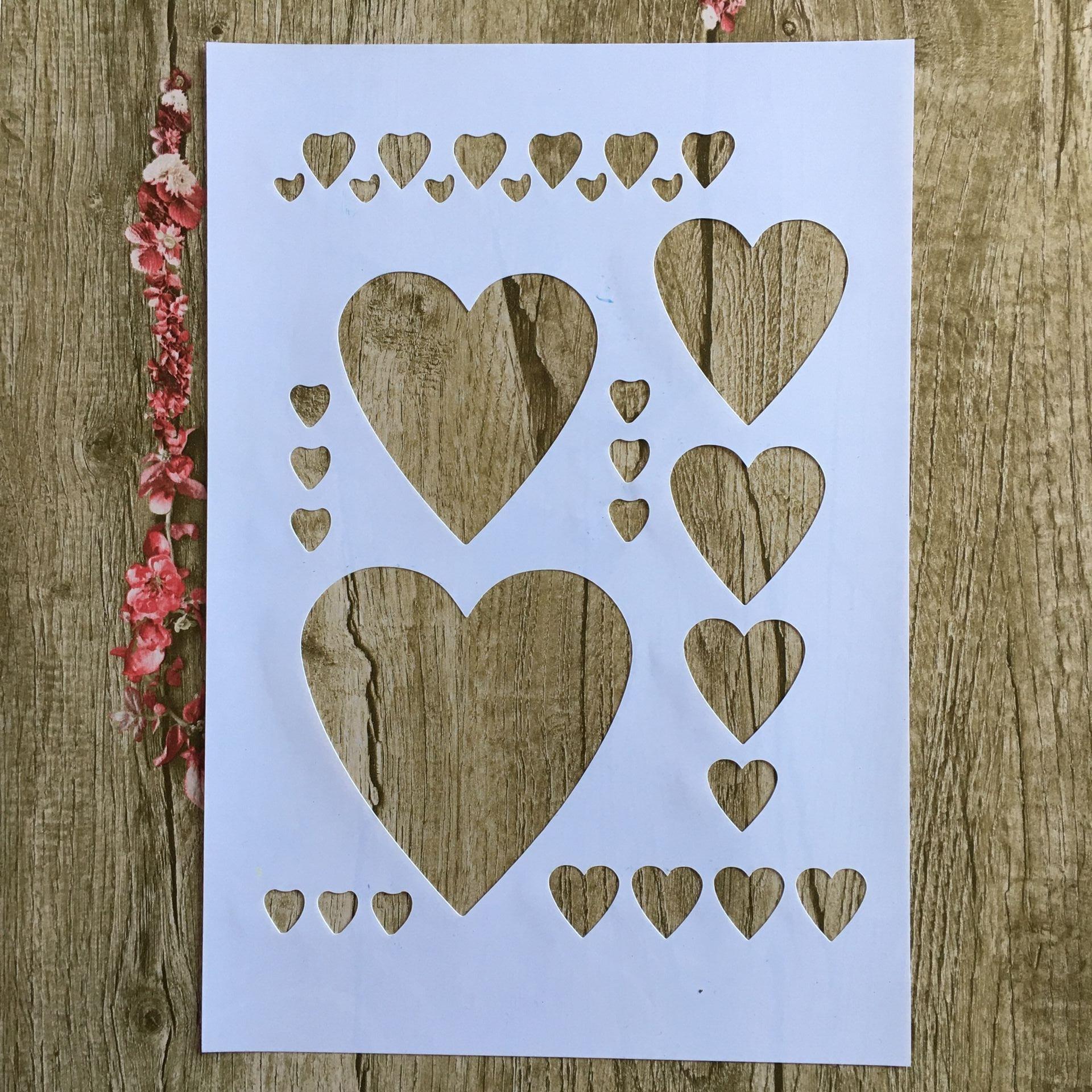 A4 29 * 21cm Heart Pentagram DIY Stencils Wall Painting Scrapbook Coloring Embossing Album Decorative Paper Card Template