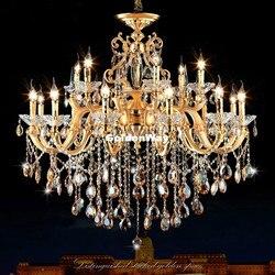 Europejski styl złoty kolor kryształu żyrandol lampa do salonu lampka do sypialni lampa do restauracji kryształowy żyrandol ze stopu cynku