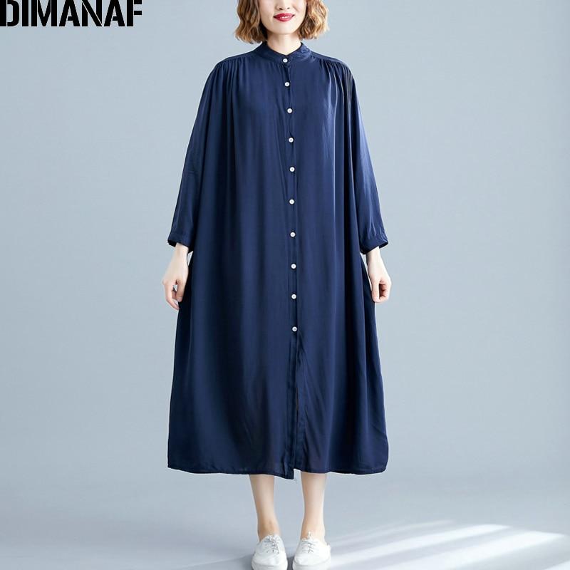 DIMANAF Plus Size Women Dress Autumn Long Sleeve Cotton Basic Casual Big Female Lady Vestidos Loose Solid Thin