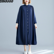 DIMANAF Plus Size Women Dress Autumn Long Sleeve Cotton Basic Casual Big Female Lady Vestidos Loose Solid Thin