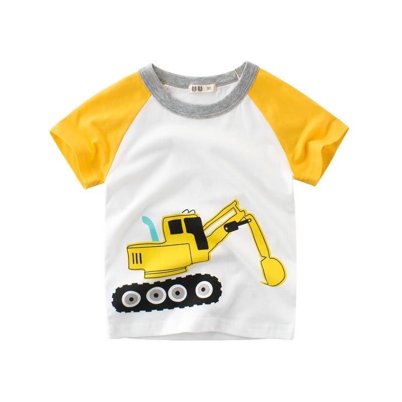 2021 Summer Children's Short-sleeved T-shirt Boys Round Neck Half-sleeved Children's Clothes Yellow Excavator 27KIDS 1-9T