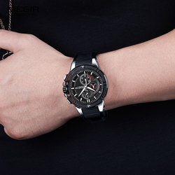 Mens Military Sport Chronograph Watches Silicone Army Quartz Wristwatch Relogios Masculino Top Brand 2095 Silver Black