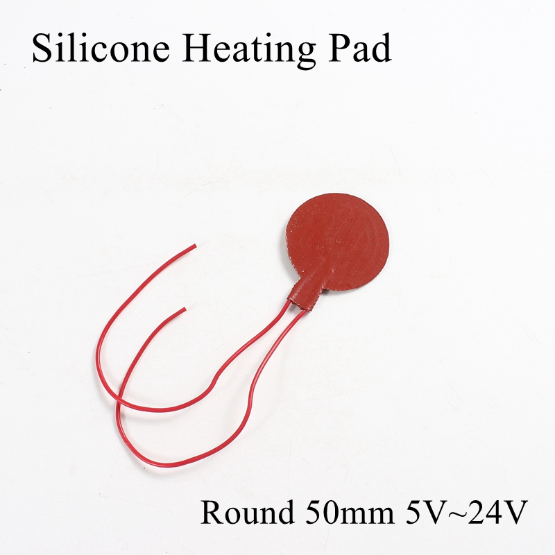 Round 50mm 5V 12V 24V Silicone Heating Pad Rubber Heat Mat Heated Bed Plate Flexible Waterproof 3D Printer Parts Electric Pads