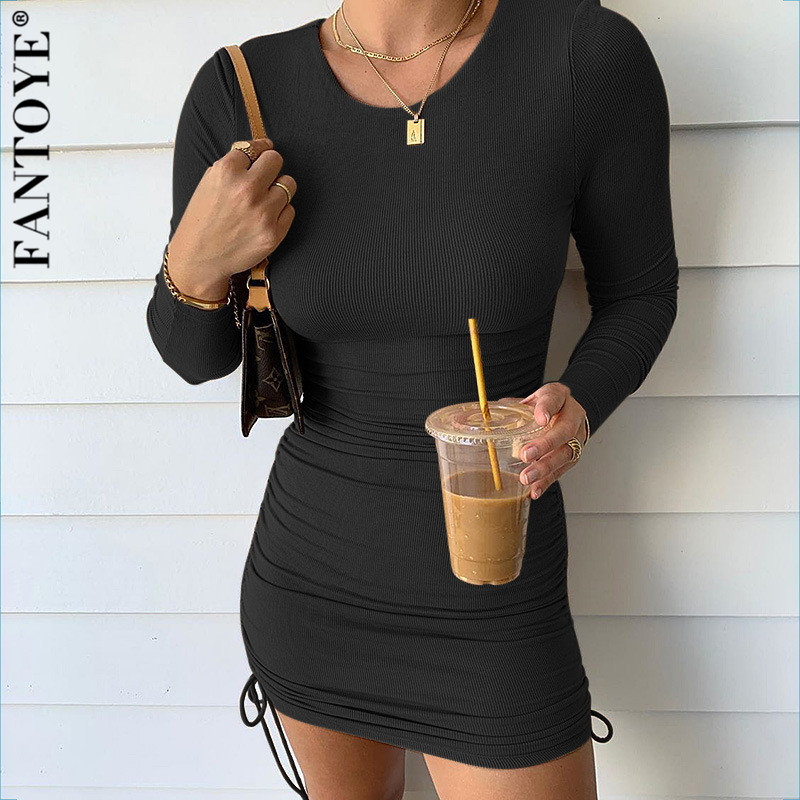 FANTOYE Cotton Full Sleeve Dress 2020 Autumn New Women Fold Ruched Drawstring Slim Mini Dress Casual Streetwear O-Neck Dresses 1