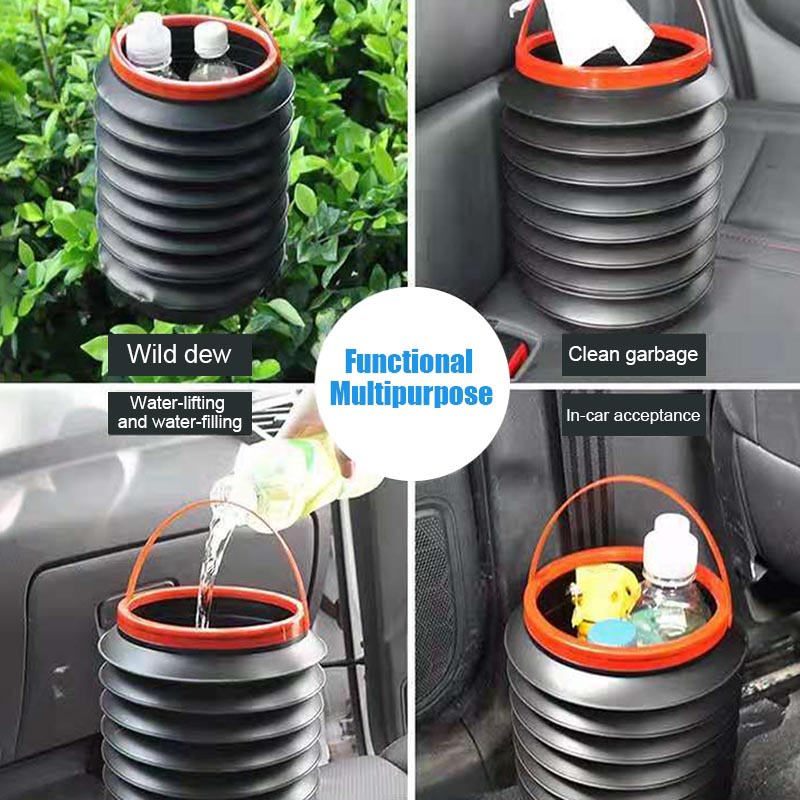 Portable Multifunctional Auto Round Folding Storage Bin Car Cleaning Bucket Accessories Fishing Box Water Pail Trash Container for Household Outdoor 4L Car Telescopic Trash Can