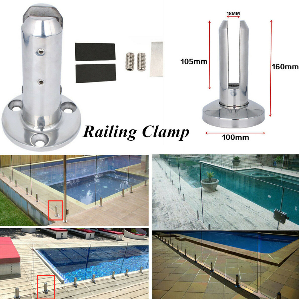Bracket Round Stainless Steel Stairs Home Glass Clamp Balcony Bathroom Fence Spigots Railing Floor Stand Balustrade Pool