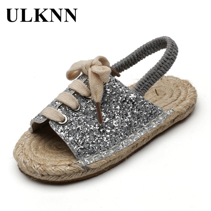 ULKNN CHILDREN'S Sandals 2020 Girls Cool Series Linen Flat Top Shoes BOY'S Elastic Casual STUDENT'S Shoes Kid's Sandals For Baby