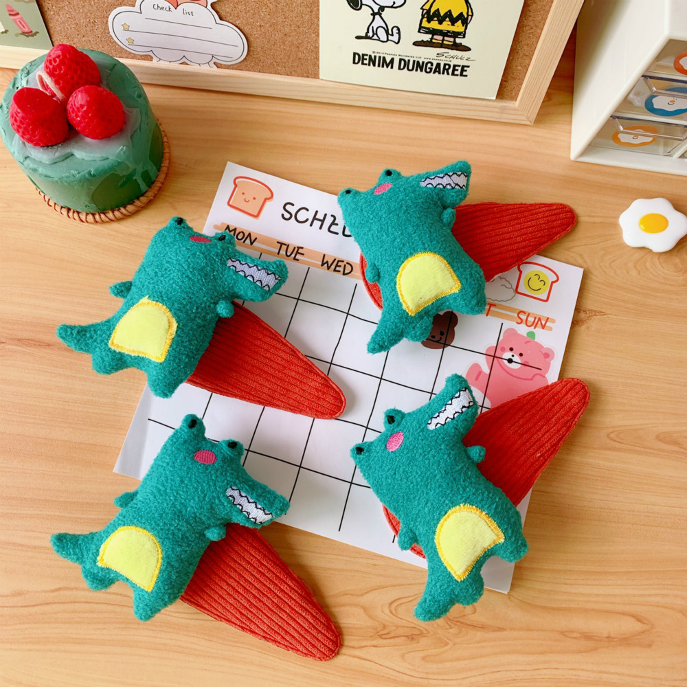 Plush Cute Dinosaur Wash Face Hair Clip Bangs Hairpin Female Hair Accessories