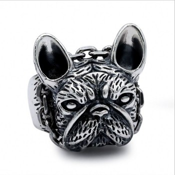 2019 new 100% S925 silver jewelry retro puppy ring for Men personality domineering bulldog men's Thai silver ring solid silver