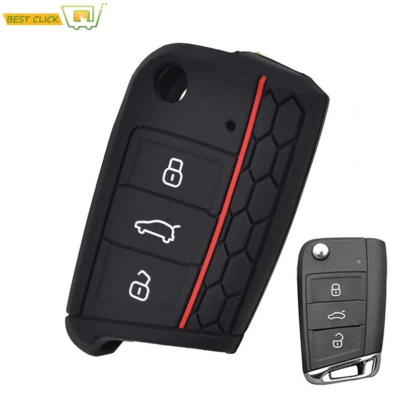 Silicone Key Fob Case For VW Polo Golf 7 for Skoda Octavia Kodiaq Karoq for SEAT Ateca Leon Cover Shell 2016 2017 2018 2019