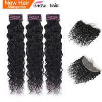 Ishow Water Wave Bundels Met Frontale Pre Geplukt Indian Hair 3 Bundels Met Sluiting Niet Remy Human Hair Bundels Met sluiting