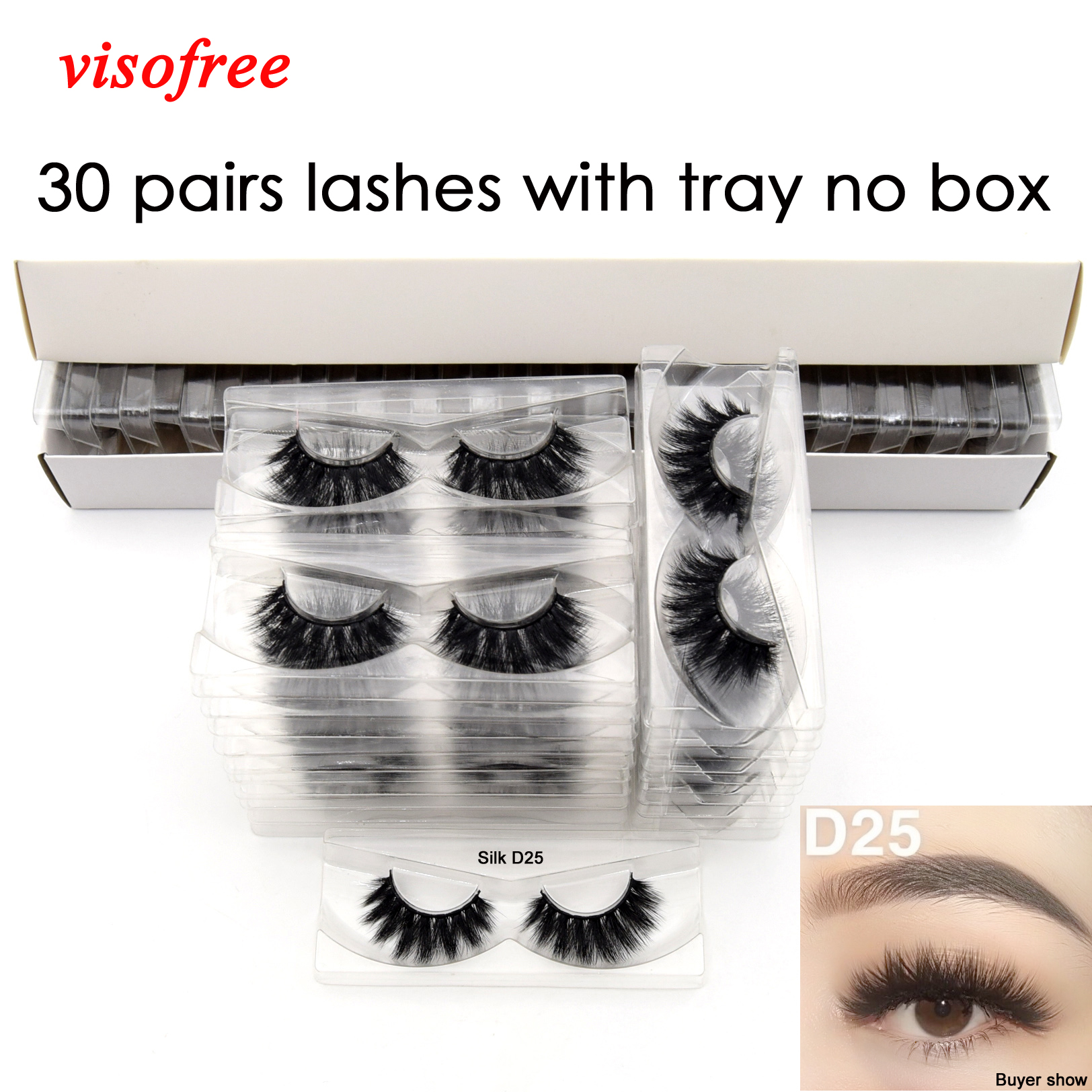 Visofree 30 Pairs/lot 3D Faux Mink Lashes With Tray No Box Handmade Full Strip Eye Lashes Fake Eyelashes Makeup Eyelashes Cilios