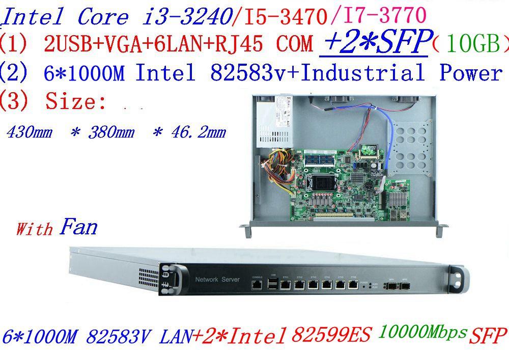 Logiciel industriel Intel Core I5 3470 3.2G routage 8 ports 1U serveur 6 Gigabit lan avec 2 SFP 10GB Mikrotik PFSense ROS etc.