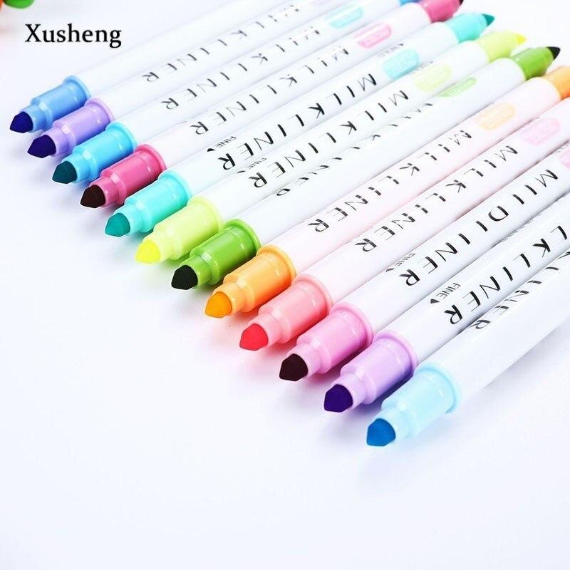12 teile/satz Nette Japanischen Schreibwaren Zebra Mildliner Doppel Headed Fluoreszierende Stift Milkliner Stift Highlighter Stift Farbe Mark Stift