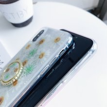 For Huawei P20/Pro/Lite P30/Lite/Pro Nova3/3i/4 Mate20/Pro Sun Floral Glitter Resin Transparent phone CaseCover With Finger Ring(China)