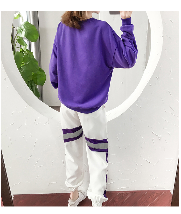 Autumn Winter Purple Two Piece Sets Women Long Sleeve Sweatshirt And Pants Suits Casual Fashion Korean Bf Style 2 Piece Sets 36