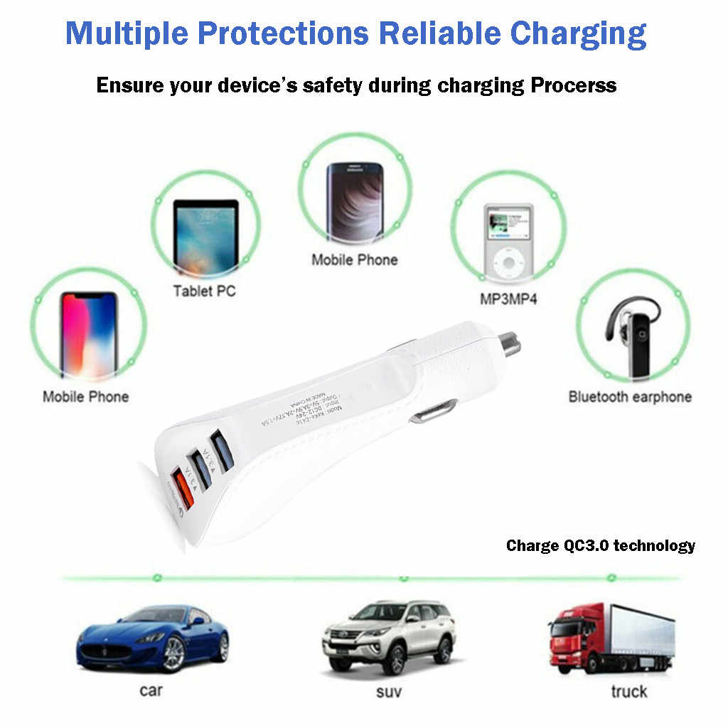 Baru QC 3.0 Cepat Charger 3.1A USB Dual Port Charger Mobil Tipe C Android Smartphone Tablet Charger Keselamatan Pengisian