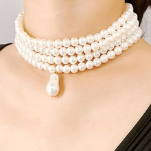 Trendy Simulated Pearl Choker Necklaces Dangle Women Elegant Baroque Beaded Multi Layered Necklace Jewelry Accessories