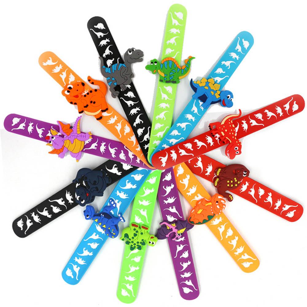 Kids Wristband Toy Party Favor Baby Shower Kawaii Accessories Cartoon Dinosaur Children Bracelet Rubber Geometric Solid Color