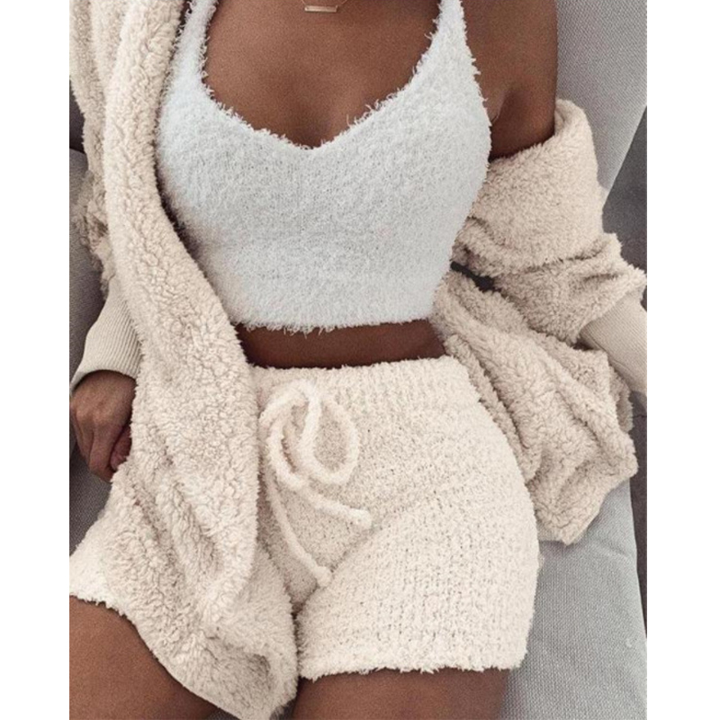New Knitted Casual Women Two Piece Set Short Jumpsuit Winter Female Solid Tracksuit Women's Autumn Soft Warm Playsuit DA508(China)