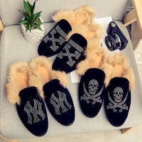 Fur Slippers Men Winter Cool Multi Design Plus Velvet Warm Toe Pointed Shoes Non slip Cotton Slippers Men's Shoes Outdoor Shoes