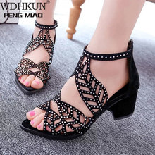 2020 New style Women Summer Hollow Out Faux Leather Rhinestones Thick Heel Zipper Sandals
