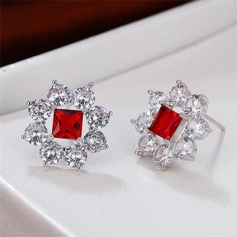 Dainty Female Rainbow Square Crystal Earring Rose Gold Silver Color Stud Earrings Cute Flower Small Wedding Earrings For Women