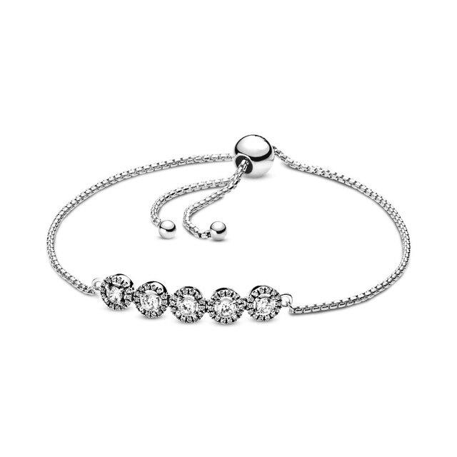 2019 NEW 100% 925 Sterling Silver Winter Round Sparkle Slider Bracelet Fit DIY Europe Women Original Fashion Jewelry Gift