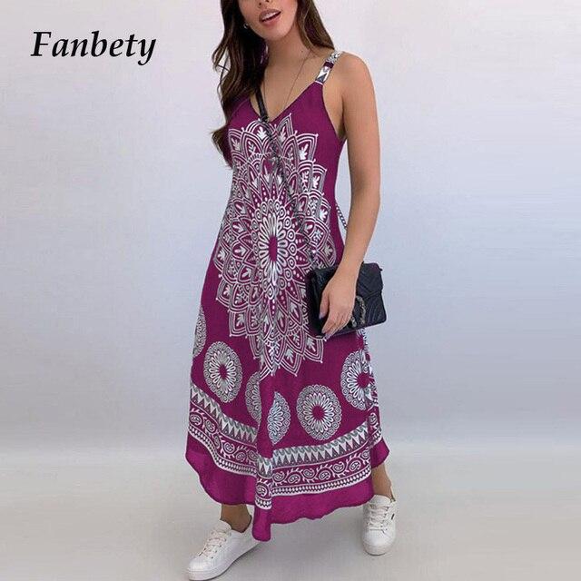 Women Sexy Backless Sleeveless Loose Beach Dress Summer Vintage Print Long A-Line Dresses Elegant Casual Strap Dress Vestido 3XL 1