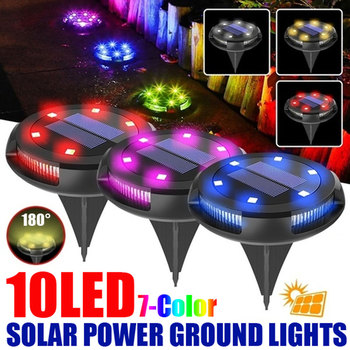 Solar Powered Ground Light Waterproof Garden Pathway Deck Lights with 10/8/6 Leds  Lamp