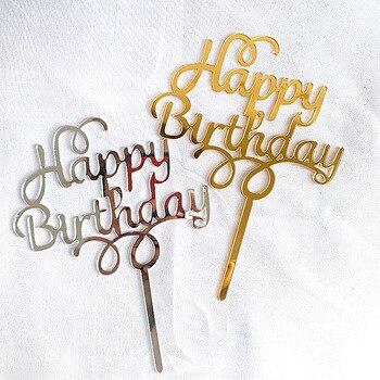 цена Cake Decoration Acrylic Gold Sliver Happy Birthday Cake Topper for Father`s Mother`s Day Cake Toppers Baby Shower Cake Toppers онлайн в 2017 году
