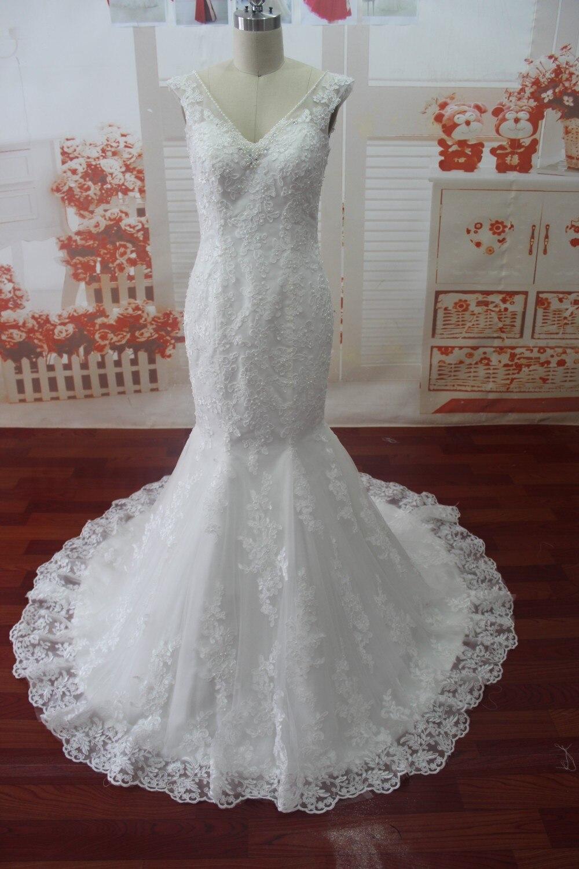 SG32 2015 Sexy Wedding Dress V Neck Beaded Lace Up Mermaid Floor Length Court Train Long Dresses Mermaid Bridal Gowns