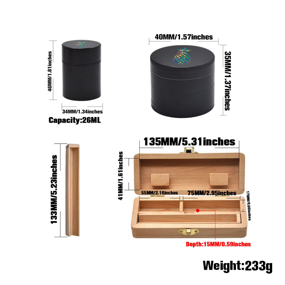 Tobacco Wooden Stash Case Box  Aluminum Herb Grinder  Metal Smoking Stash Storage Jar Smoke Hand Pipe Smoking gift cigarette Box 1